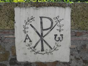 "Greek letters Chi and Rho -- symbol for Christ -- as well as special to those of us who celebrate KAIROS as ""God's Time."""